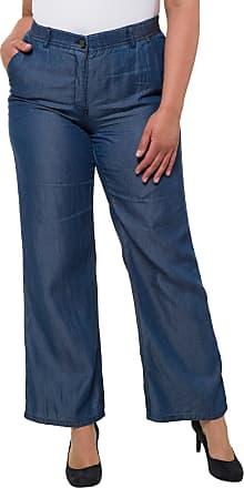 4c238721fd83 Ulla Popken Damen Hose Mary, weites, gerades Bein, sommerliche Qualität,  poolblau,