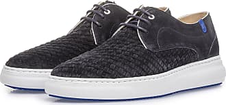 Floris Van Bommel Dunkelblauer Schnürschuh mit geflochtenem Wildleder, Business Schuhe, Handgefertigt