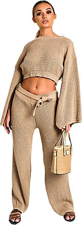 Ikrush Heath Knitted Slit Sleeve Co-ord Camel UK M/L Brown