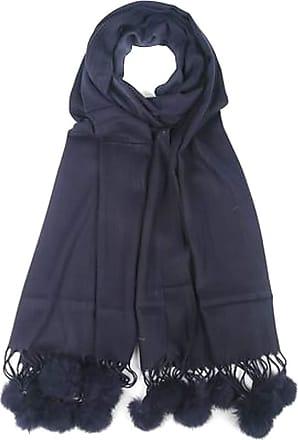Your Dezire Plain Pasmina Pom Pom Scarve Large Shawl Winter Scarf Celebrity Style Wraps (Navy)