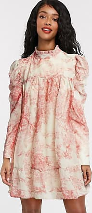 In The Style x Lorna Luxe puff sleeve smock dress in pink floral print-Multi