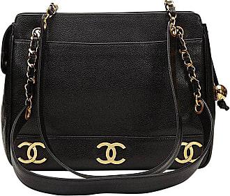 Chanel 1995 Chanel Black Caviar Leather Vintage Logo Trim Shoulder Bag bd91dcbb3cf07