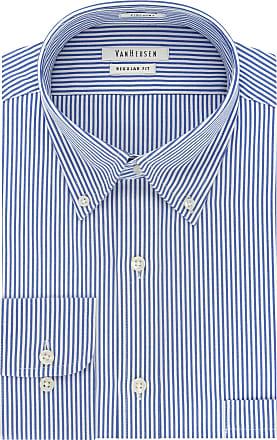 Van Heusen mens20F7848Pinpoint Regular Fit Stripe Button Down Collar Dress Shirt Button Down Collar Long Sleeve Dress Shirt - Blue - 15.5 Neck 32-33 Sleeve