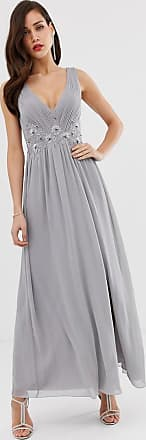 Little Mistress tulle maxi dress with side split and lace detail-Grey