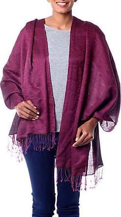 Novica Silk and wool blend shawl, Burgundy Magic