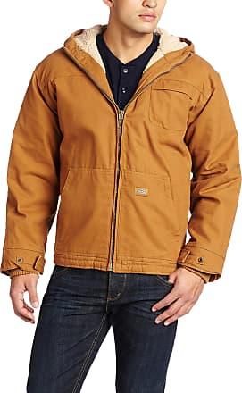 Dickies Mens Sanded Duck Sherpa Lined Hooded Jacket Long Sleeve Outerwear - Brown