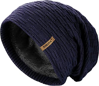 TOSKATOK Mens Unisex Warm Winter Textured Knit Thermal Insulation Slouch Beanie hat with Cosy Faux Fur Teddy Fleece Liner-Navy