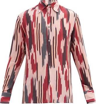 73 London Ikat-stripe Silk-crepe De Chine Shirt - Mens - Red Multi