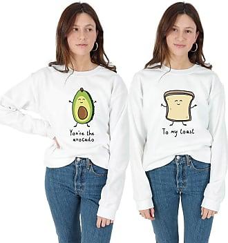 Sanfran Clothing Sanfran - Youre The Avocado to My Toast Set Matching BFFs Vegan Jumper Sweater - Extra Large & Medium/White