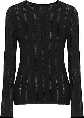 Elie Tahari Elie Tahari Woman Corette Pointelle-knit Wool-blend Top Black Size M