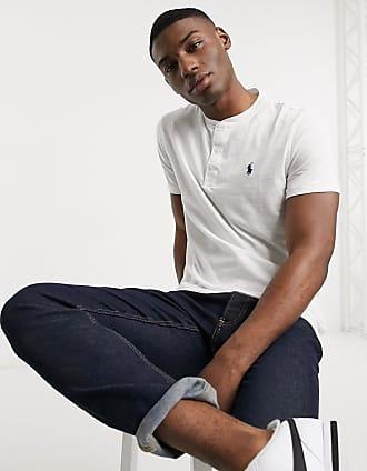 Polo Ralph Lauren T-shirt serafino fiammata bianca con logo-Bianco