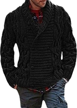 H&E Mens Double Breasted Thicken Shawl Collar Cable Knit Coat Sweater Cardigans Black 2XL