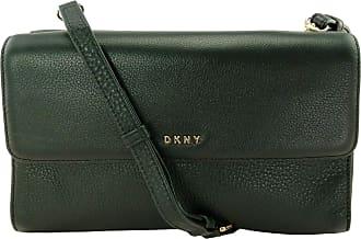 DKNY DKNY Donna Karan Leather Double Flap Shoulder Bag/Clutch (Medium, Black) RRP £215