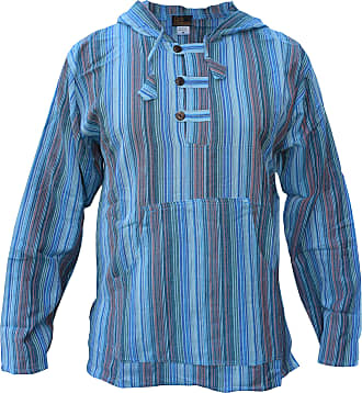 Gheri Mens Striped Cotton Light Grandad Hoodie Kurtas Turquoise XX-Large
