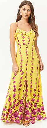 Forever 21 Forever 21 Floral Button-Front Maxi Dress Yellow/purple