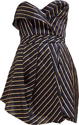 Alexandre Vauthier Strapless Striped Organza Mini Dress - Womens - Navy Multi