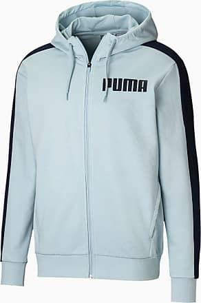 Puma Contrast Full Zip Mens Hoodie, Light Sky, size 2X Large, Clothing