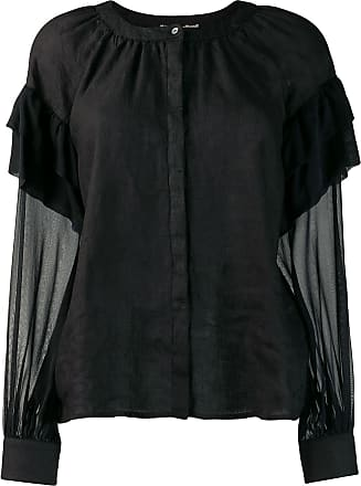 120% Lino panelled ruffle sleeve blouse - Black