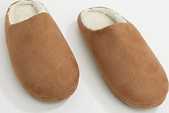c4f7aa53b9eb Asos slip on slippers in tan with faux shearling lining