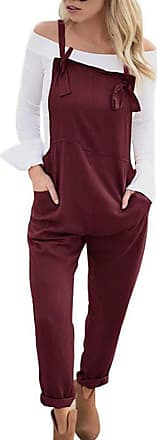 TOMWELL Women Retro Casual Loose Soft and Breathable Overall Strap Sleeveless Long Playsuit Romper Harem Jumpsuit Dungarees Wine Red UK 16