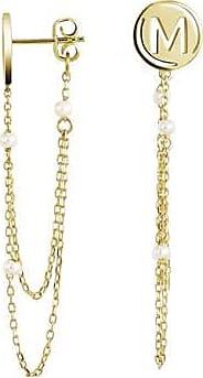 Misaki Boucles doreilles pendantes Me dorées avec perles de culture blanches
