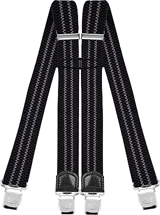 Decalen Mens Braces with Very Strong Clips Heavy Duty Suspenders One Size Fits All Wide Adjustable and Elastic X Style (Black Grey)