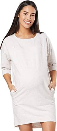Zeta Ville Zeta Ville - Womens Maternity Nursing Sweat Dress Round Neck 3/4 Sleeves - 038c (Beige Melange, UK 12, L)