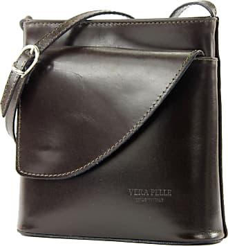 modamoda.de Italian womens bag handbag shoulder bag carrying bag small satchet D1, Colour:Dark Chocolate