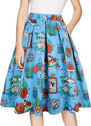 EmilyLe Ladies Summer Floral Print Skirt Vintage Knee Length Dress Party Cocktail Full Circle Skirt with Pocket (XL, Blue)
