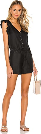 Chaser Flutter Sleeve Button Down Romper in Black