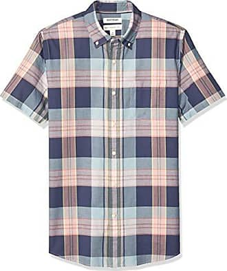 Goodthreads Mens Standard-Fit Short-Sleeve Madras Shirt, Burgundy Navy Plaid, XXX-Large