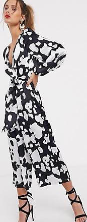 Unique21 Unique21 satin long sleeve cow print long sleeve jumpsuit-Multi