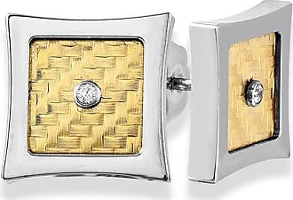 Zales Mens Diamond Accent Solitaire Checkered Pattern Concave Stud Earrings in Stainless Steel and 18K Gold