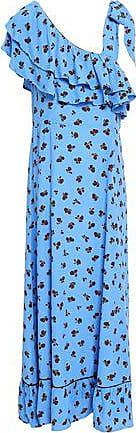 Ganni Ganni Woman Roseburg One-shoulder Floral-print Washed-crepe Maxi Dress Azure Size 34