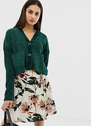 Qed London Cardigan in ciniglia con tasche-Verde