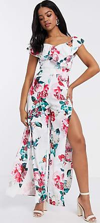 Lipsy Schulterfreier Jumpsuit mit Carmenausschnitt und Beinschlitzen in Weiß mit Blumendruck-Mehrfarbig