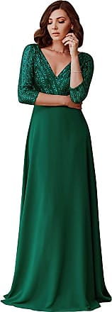 Ever-pretty Womens V Neck Long Sleeve Elegant A Line Floor Length Long Chiffon Mother of The Bride Dresses with Sequin Dark Green 20UK