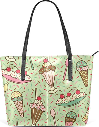 NaiiaN Lighthouse Tote Bag Shoulder Bags Light Weight Strap Leather Ice Cream Seamless Pattern Dessert Handbags for Women Girls Ladies Student Purse Shopping