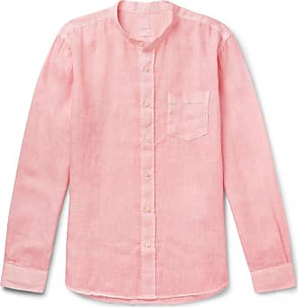 120% CASHMERE Grandad-collar Garment-dyed Linen Shirt - Pink