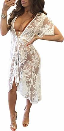 QIYUN.Z Womens Summer Swim Beach Cover Up Sexy Lace Kimono Cover-ups Cardigan for Bikini - Womens Swimwear Beachwear Beach Dress White