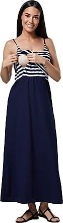 Happy Mama Womens Maternity Nursing Maxi Empire Waist Straps Long Dress 009p (Navy Stripes & Navy, UK 16/18, 2XL)