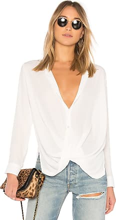 Krisa Surplice Button Blouse in White