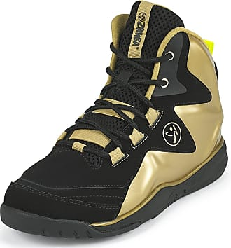 Zumba Energy Boom High Top Athletic Shoes Dance Training Workout Women Shoes, Gold Metallic/Black, 3.5 UK
