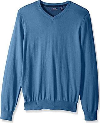 Izod Mens Fine Gauge Solid V-Neck Sweater, Federal Blue Heather, Medium
