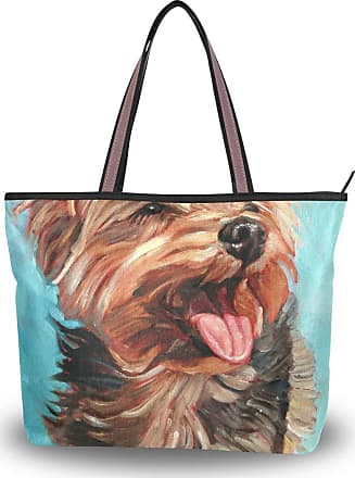 Lorona Women Happy Yorkshire Terrier In The Sun Dog Painting Canvas Shoulder Hand Bag Large Capacity Tote Bag