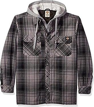 0cc3d2eeb1b Dickies Mens Relaxed Fit Hooded Yarn Dye Plaid Shirt Jacket