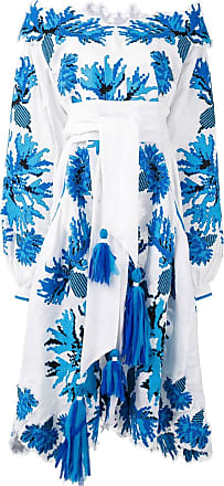 Yuliya Magdych embroidered off-shoulder dress - White
