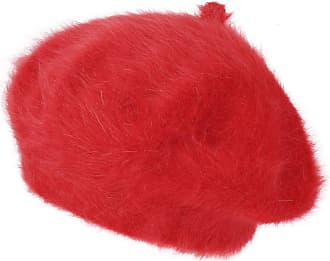 Ililily Solid Color Angora French Beret Furry Artist Flat Winter Hat, Red with Tab