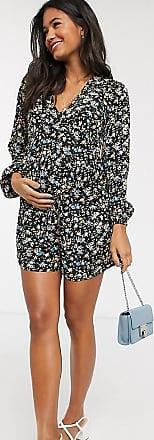Asos Maternity ASOS DESIGN Maternity long sleeve swing tea playsuit in floral print-Multi
