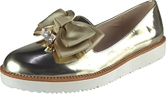 Saute Styles Ladies Womens Flats Slip On Bow Loafers Sneaker Trainers Office Pumps Shoes Size 5 Gold